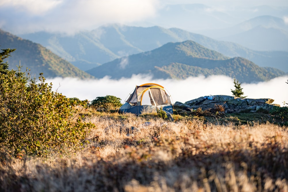 camping tent on top of mountain