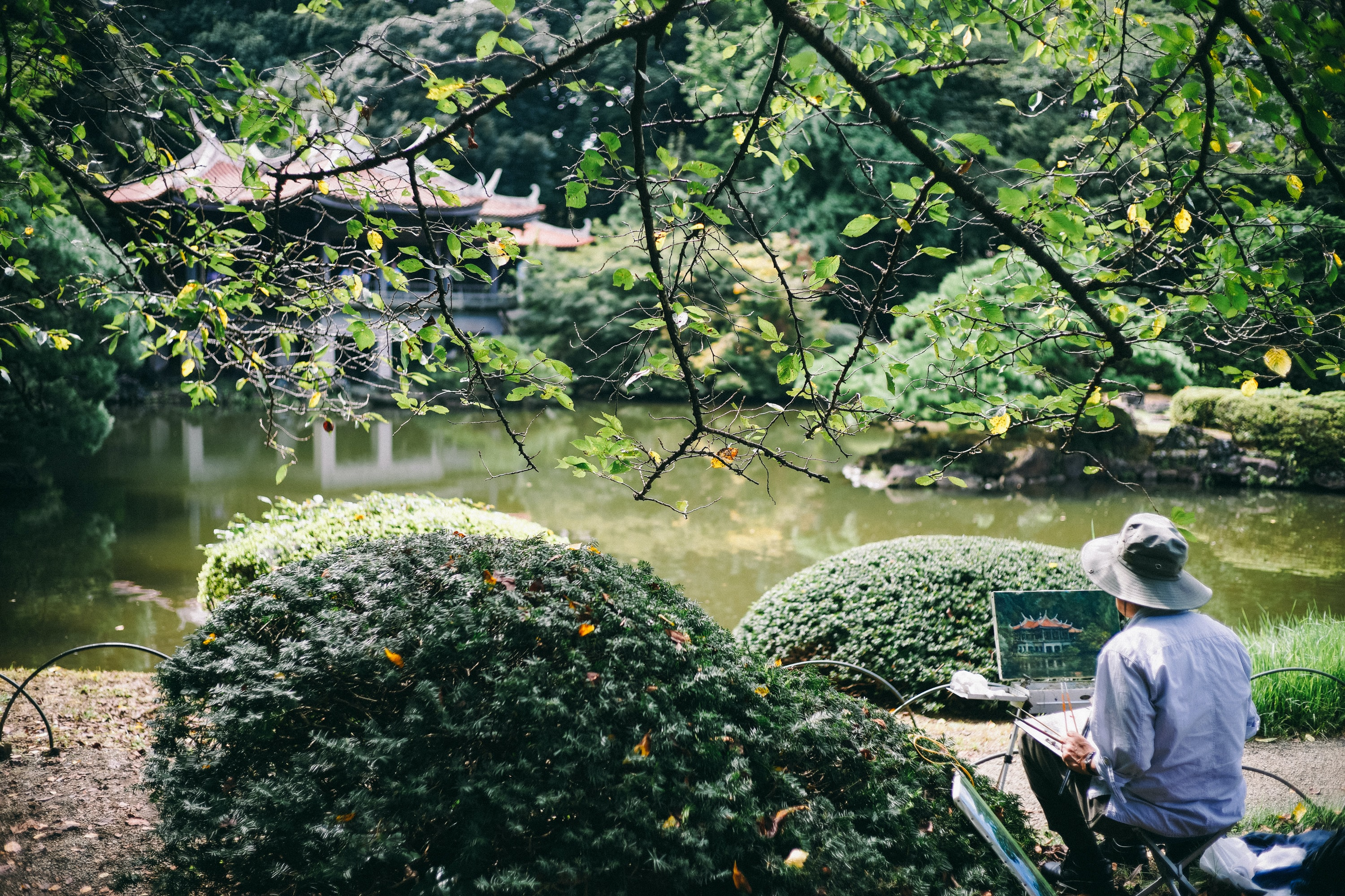 A person painting a temple and the trees, branches, grass, and water at Shinjuku Gyoen National Garden
