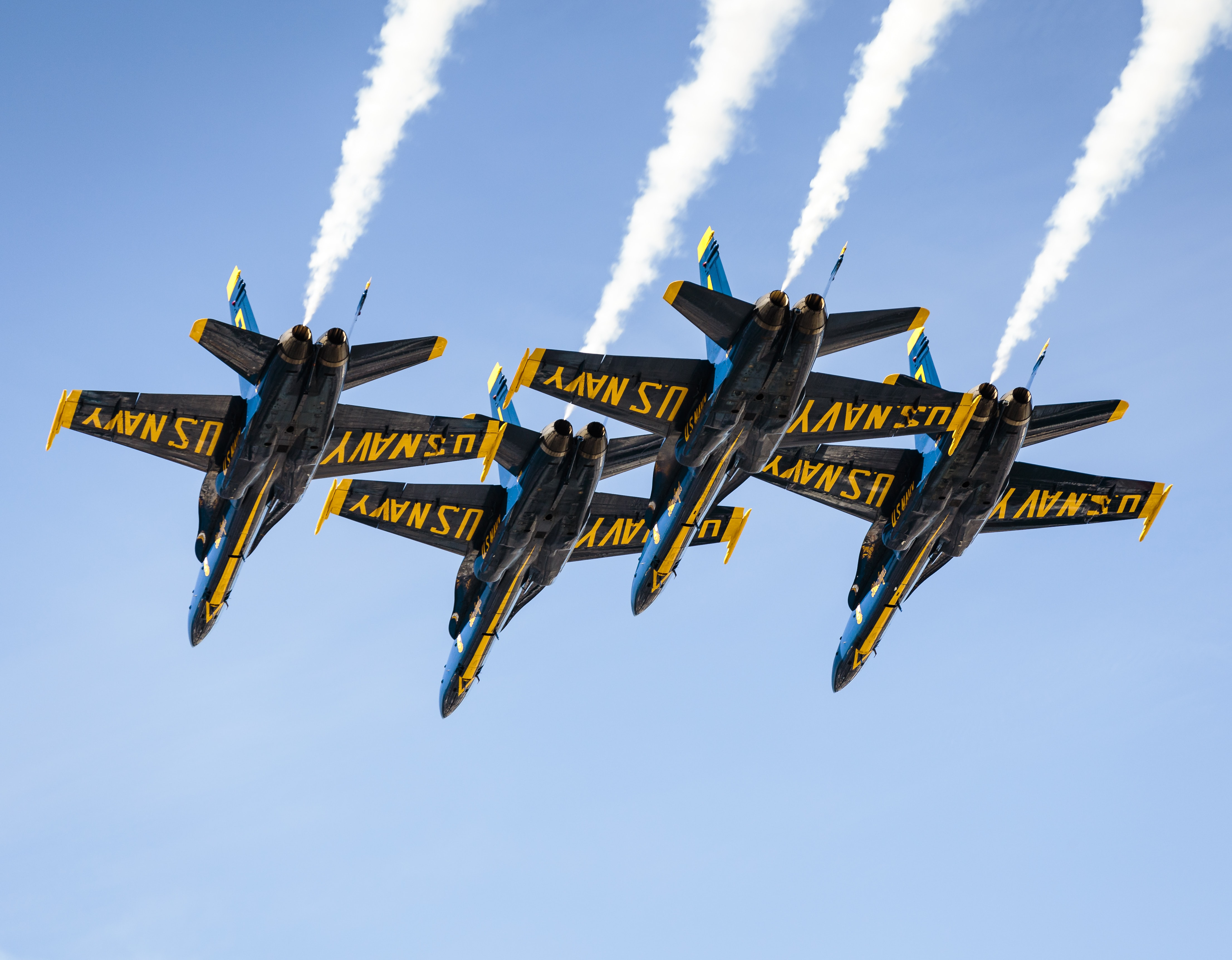 The US Navy jet fighter planes flying in an airshow in San Francisco