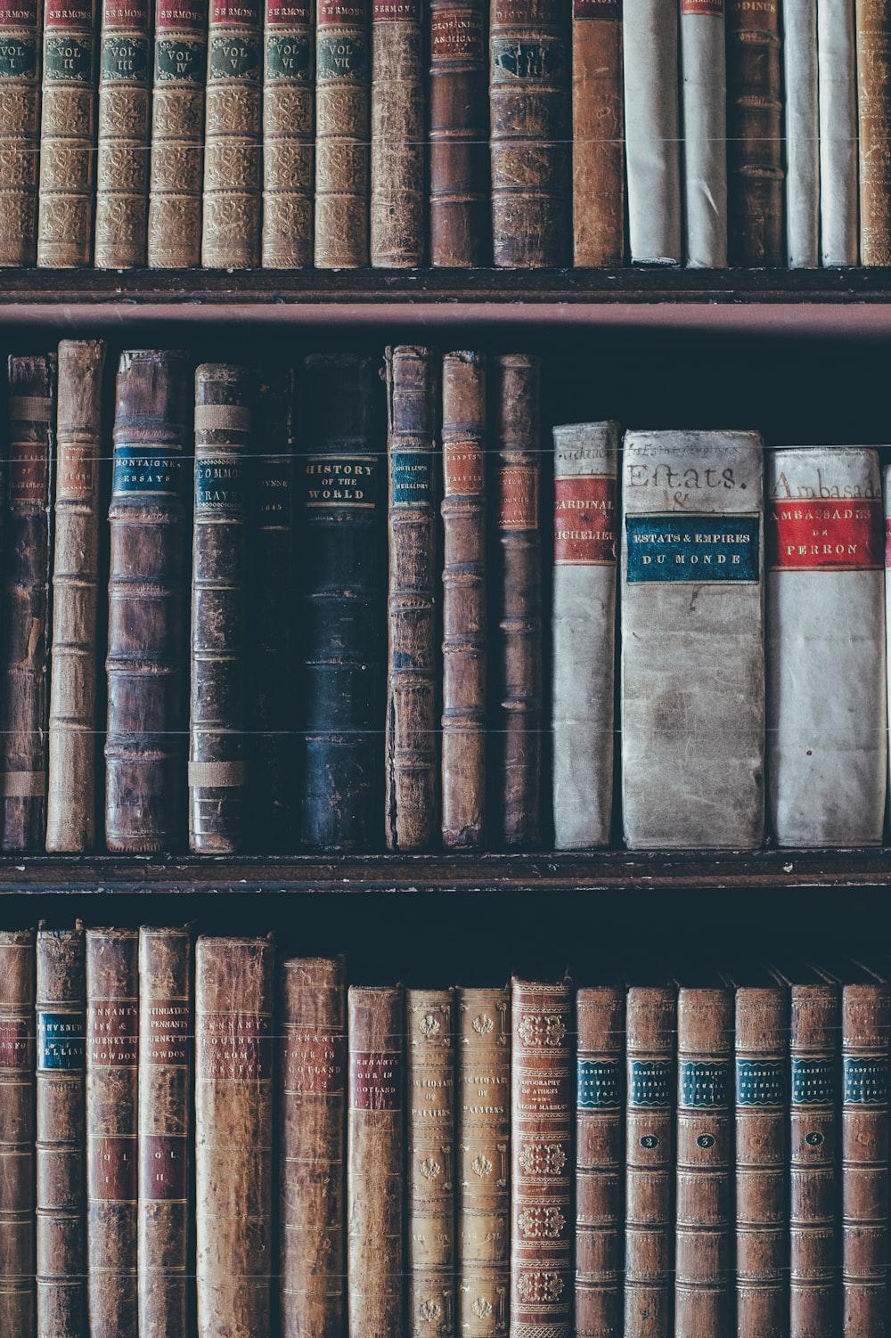 assorted books in brown wooden bookshelf