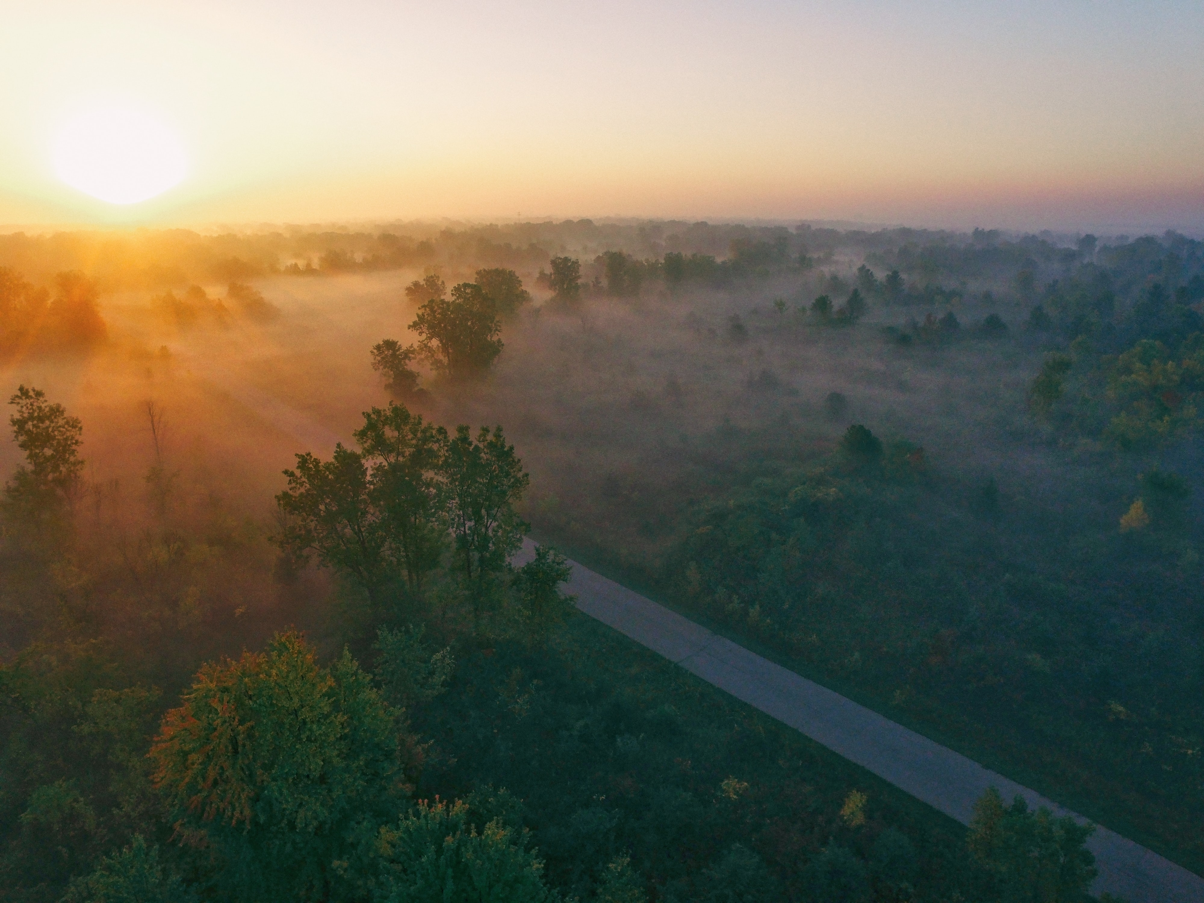 Drone view of misty countryside and through road at dawn-or-dusk in Flint, Michigan