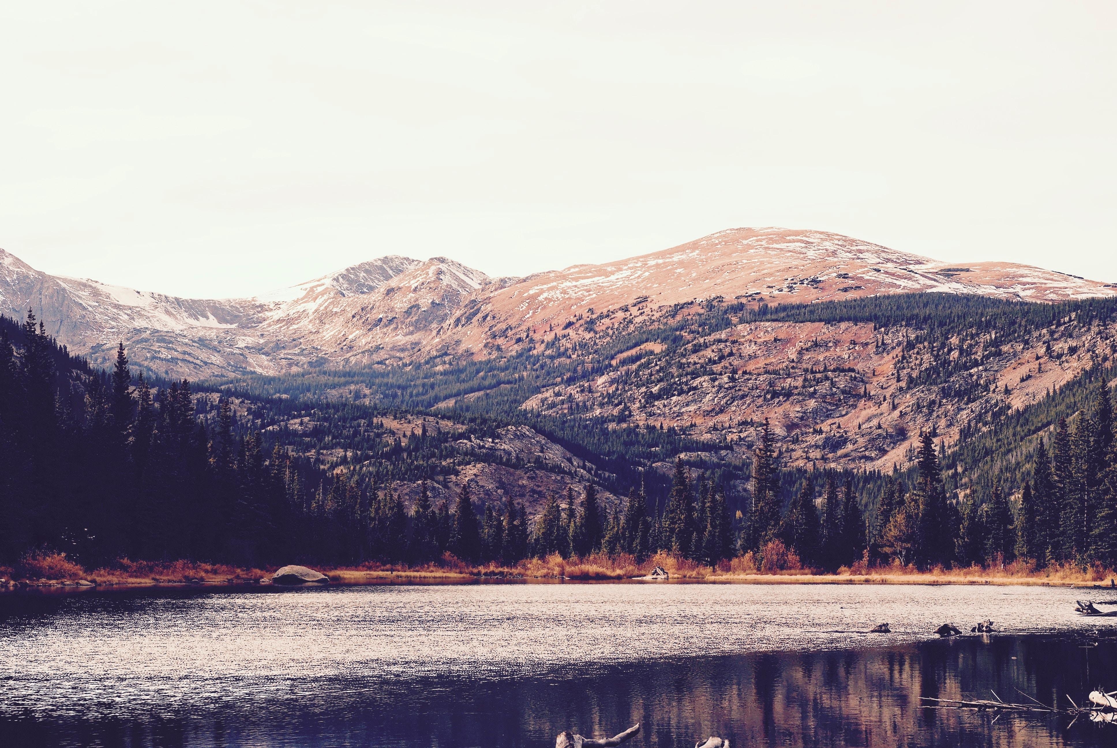 lake along mountain
