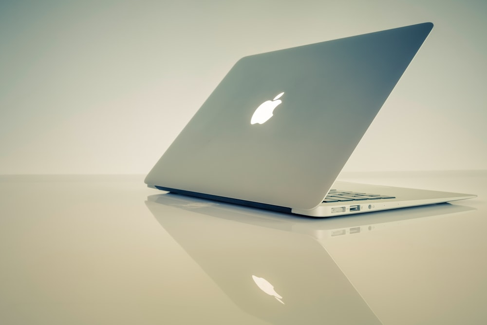 MacBook Air on white surface