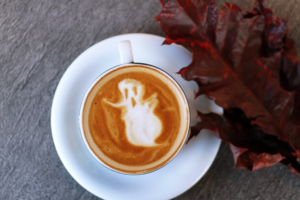 white ceramic teacup filled with ghost illustration coffee latte on white ceramic saucer beside maroon leaf photography