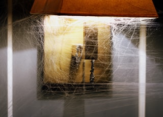 lighted brown table lamp with cob webs