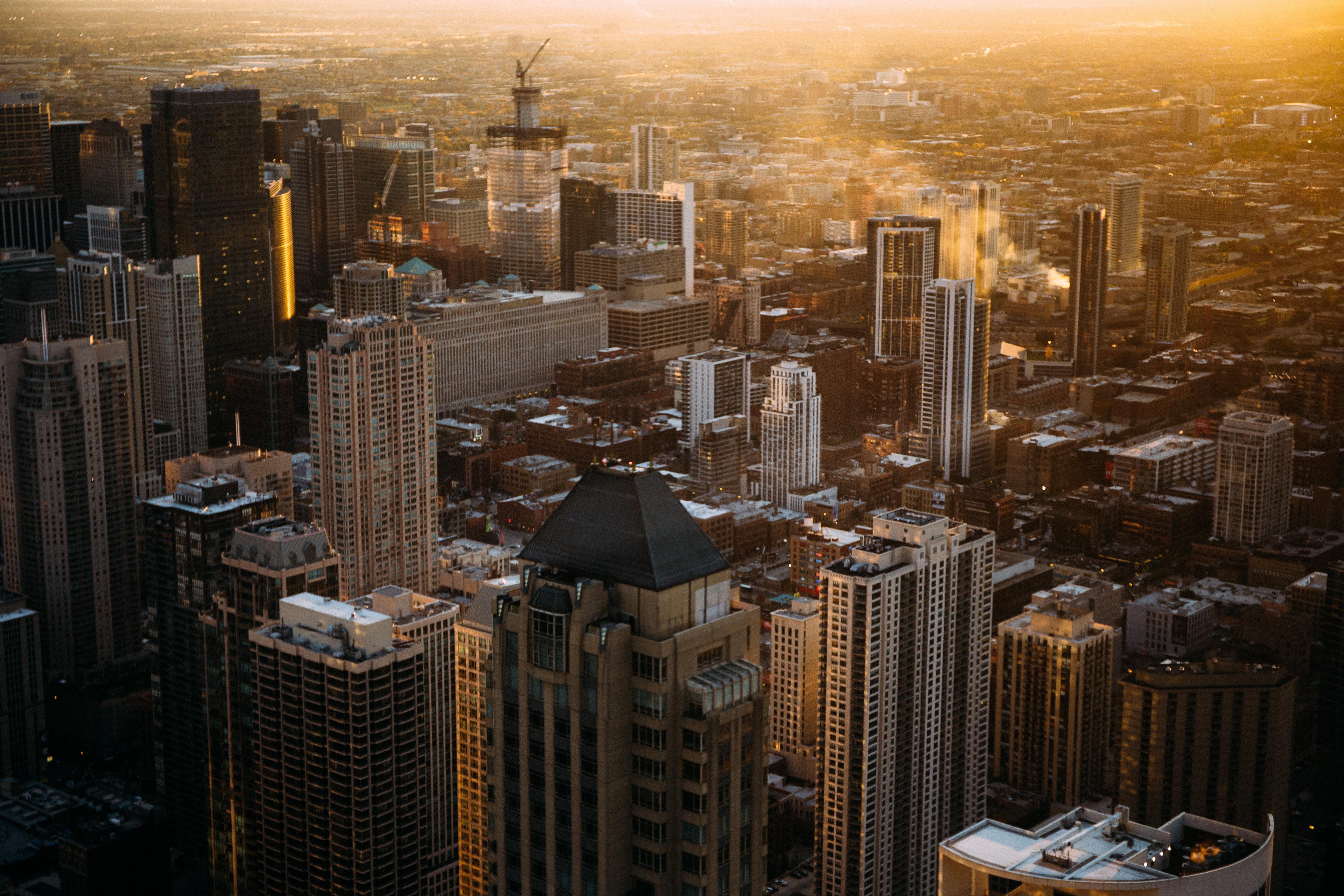 bird's eye photography of high-rise buildings