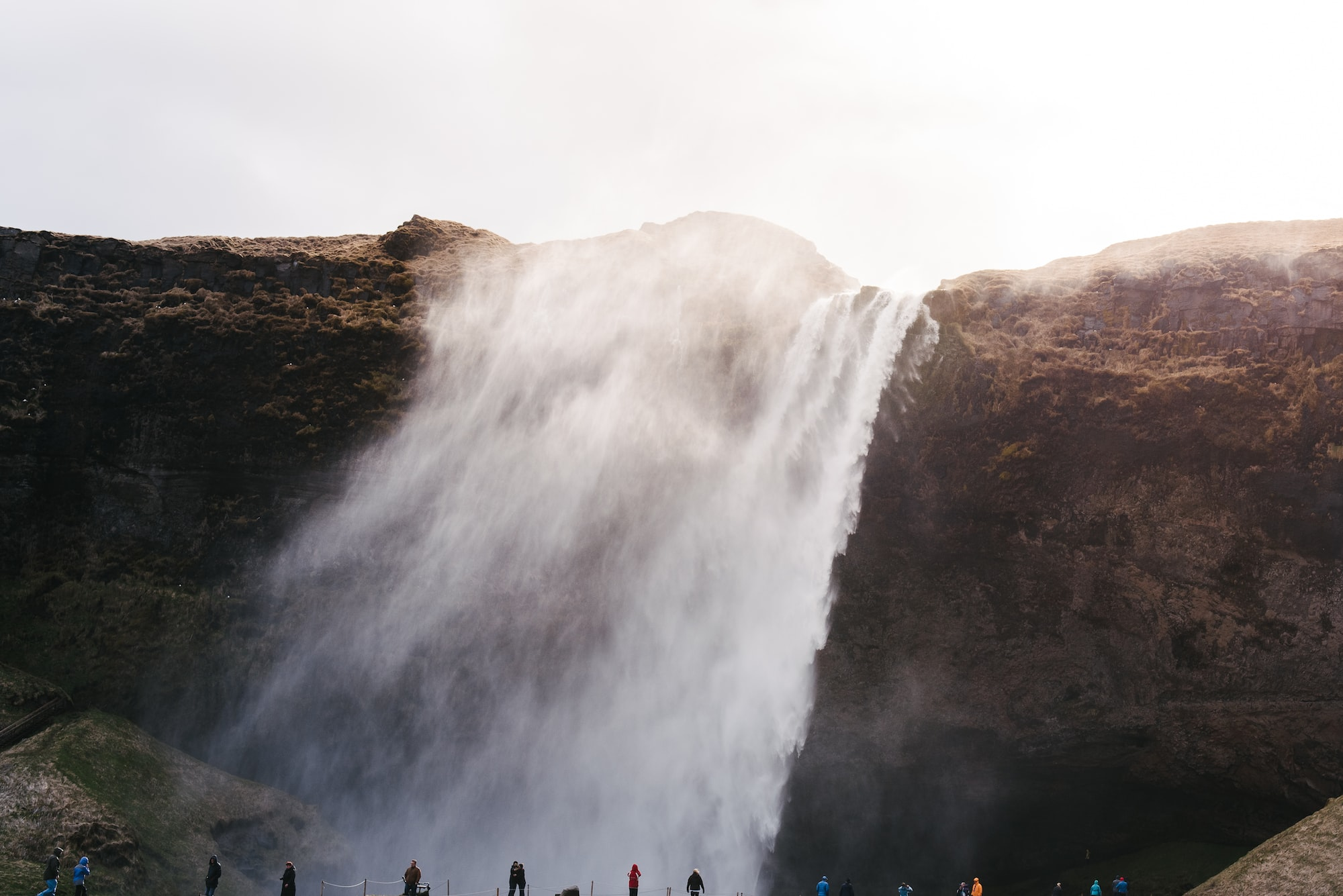 Frothy waterfall in Iceland