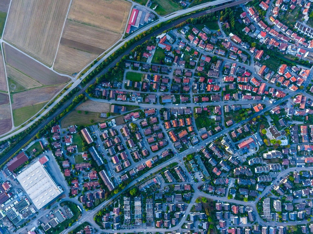 aerial photography of houses and buildings