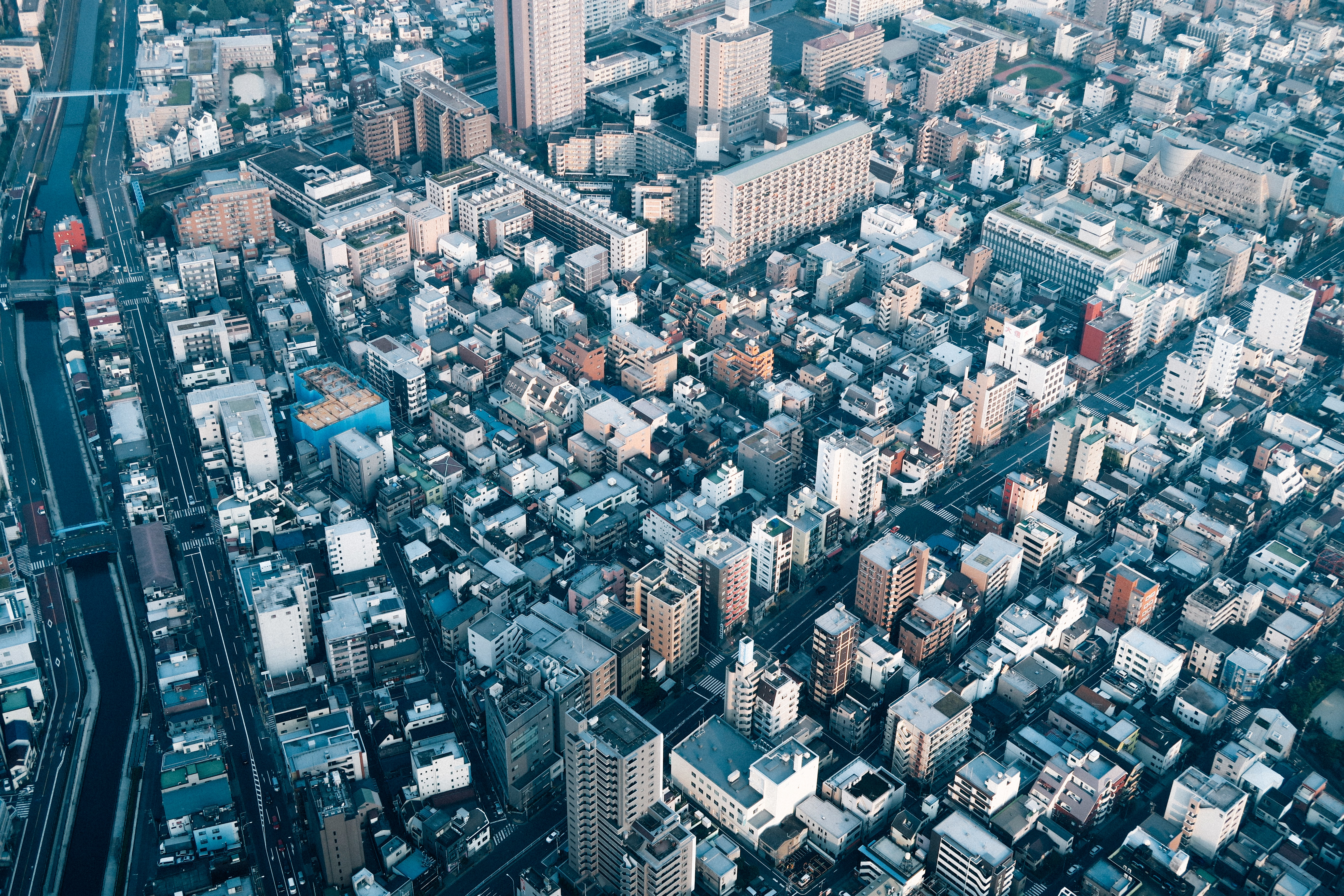 A drone shot of a residential district in Tokyo
