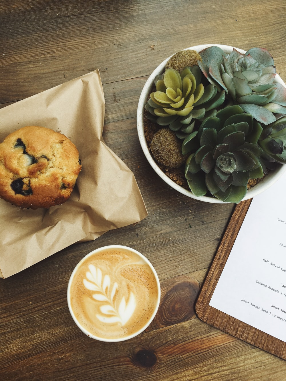 muffin served on brown paper