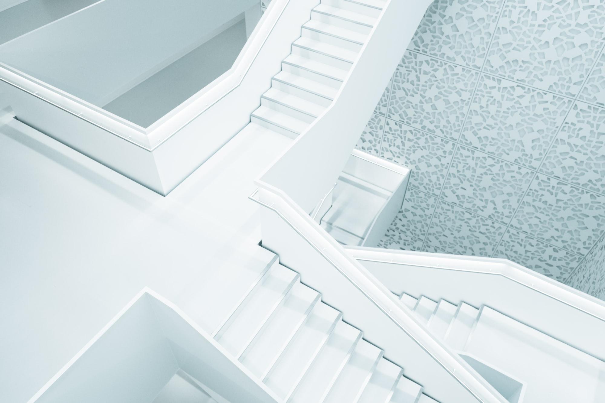 Pure white stairway