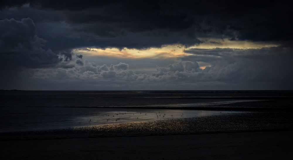 landscape photography of seashore during cloudy day