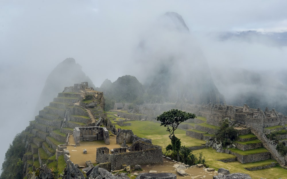 fog-covered mountain scenery