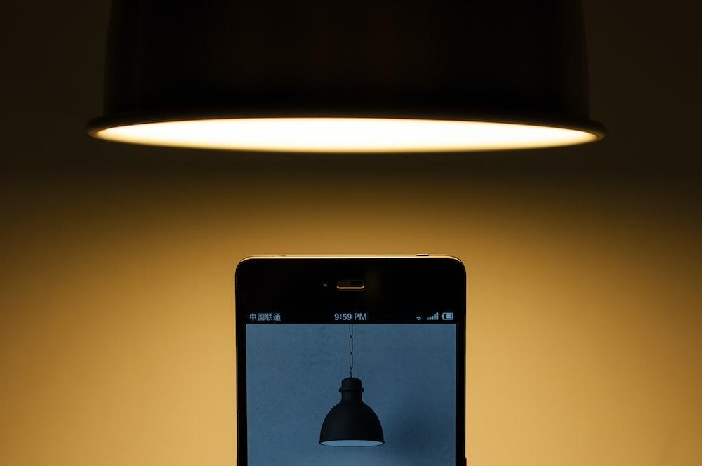 black smartphone turned on