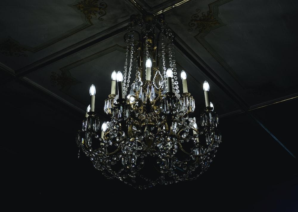 lighted crystal uplight chandelier