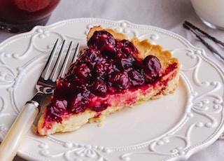 blueberry pie slice on plate