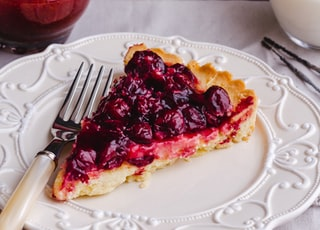 blueberry pie slice on plate