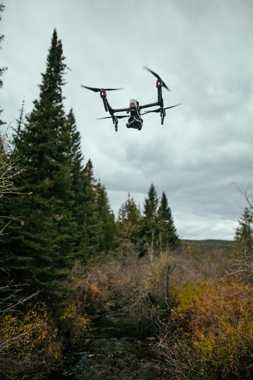 A black drone in flight near coniferous trees