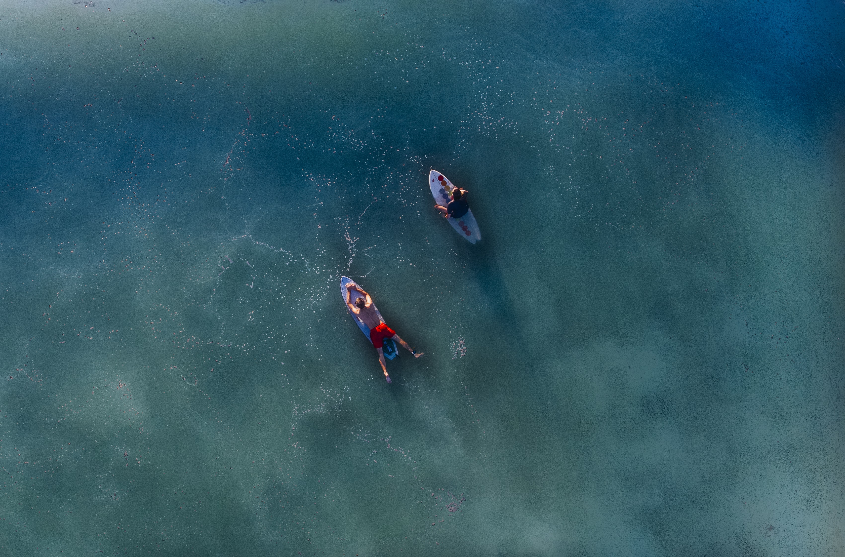 Two surfers on their boards in the calm sea, shot overhead by drone