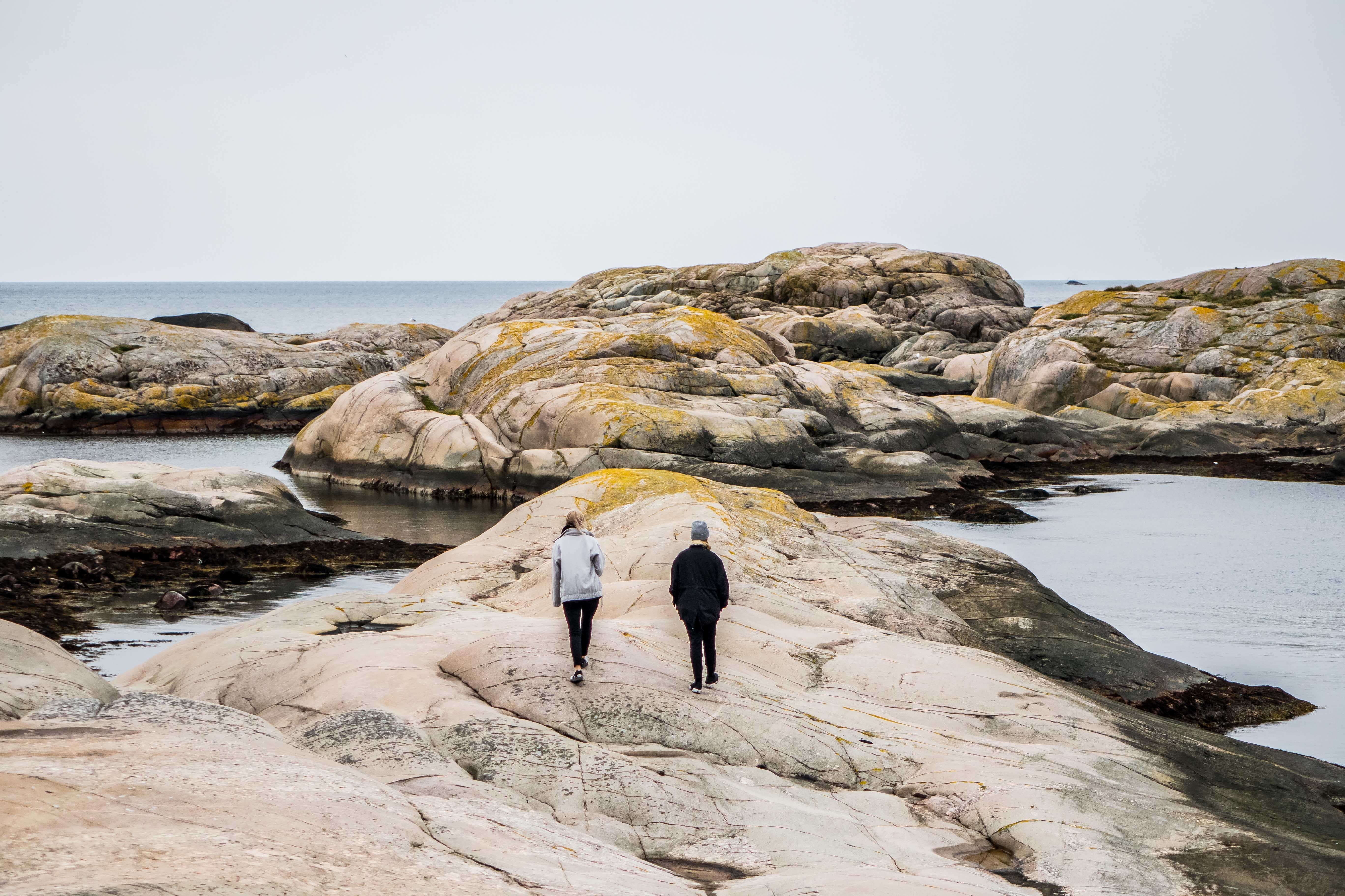 A duo strolling on a rocky shoreline during low tide