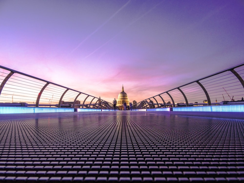 A view of St. Paul's Cathedral from the Millennium Bridge in London