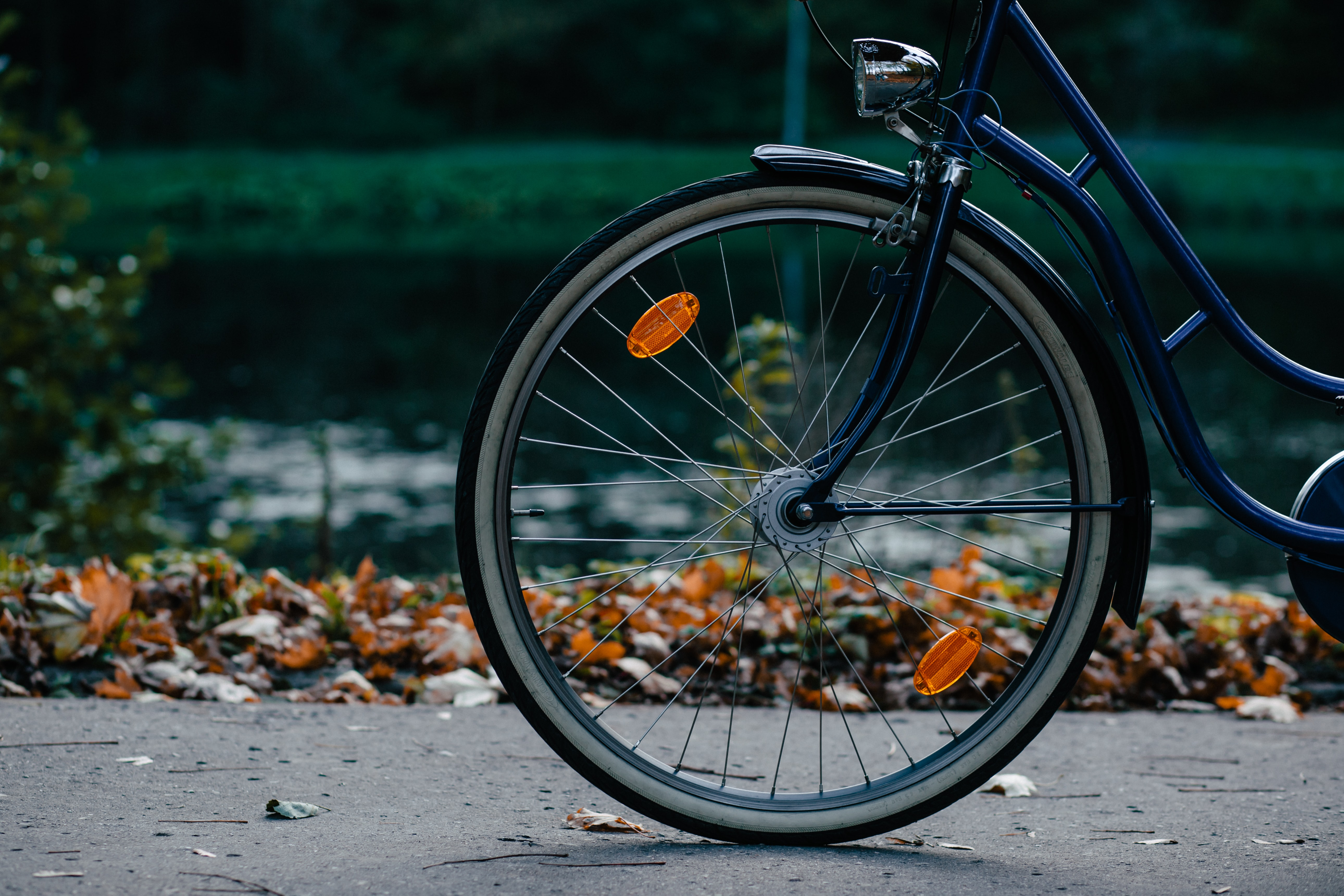 Front half of a navy blue bicycle with wheel and spokes on a sidewalk near leaves