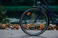 photo of front bicycle wheel