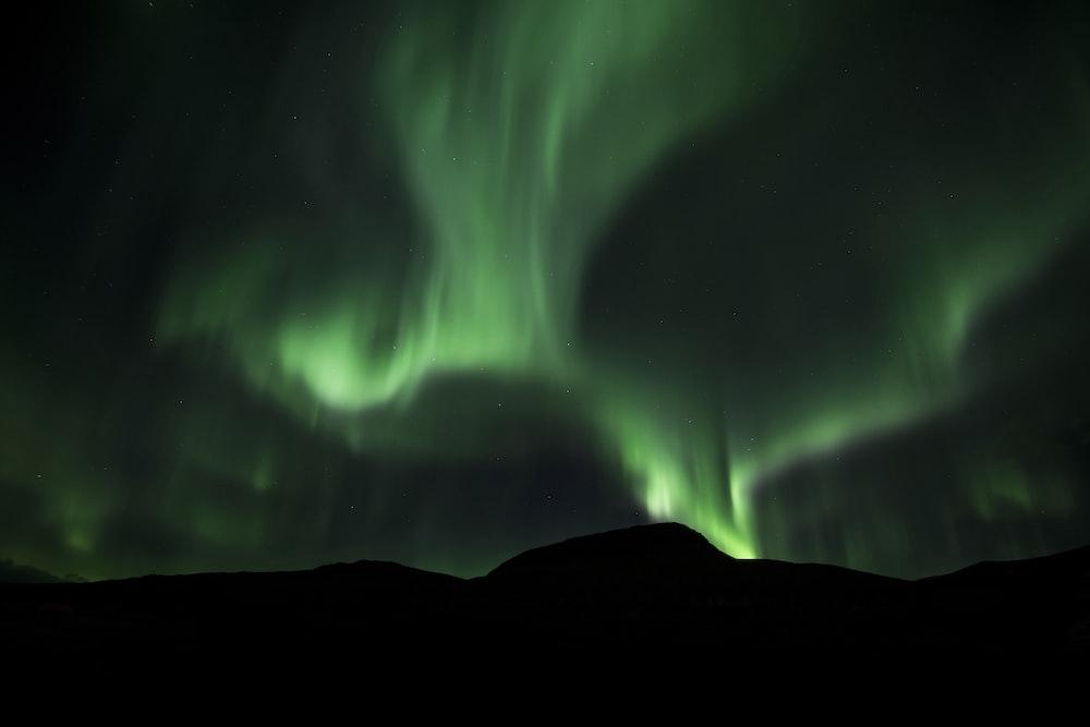 green Northern Lights at night