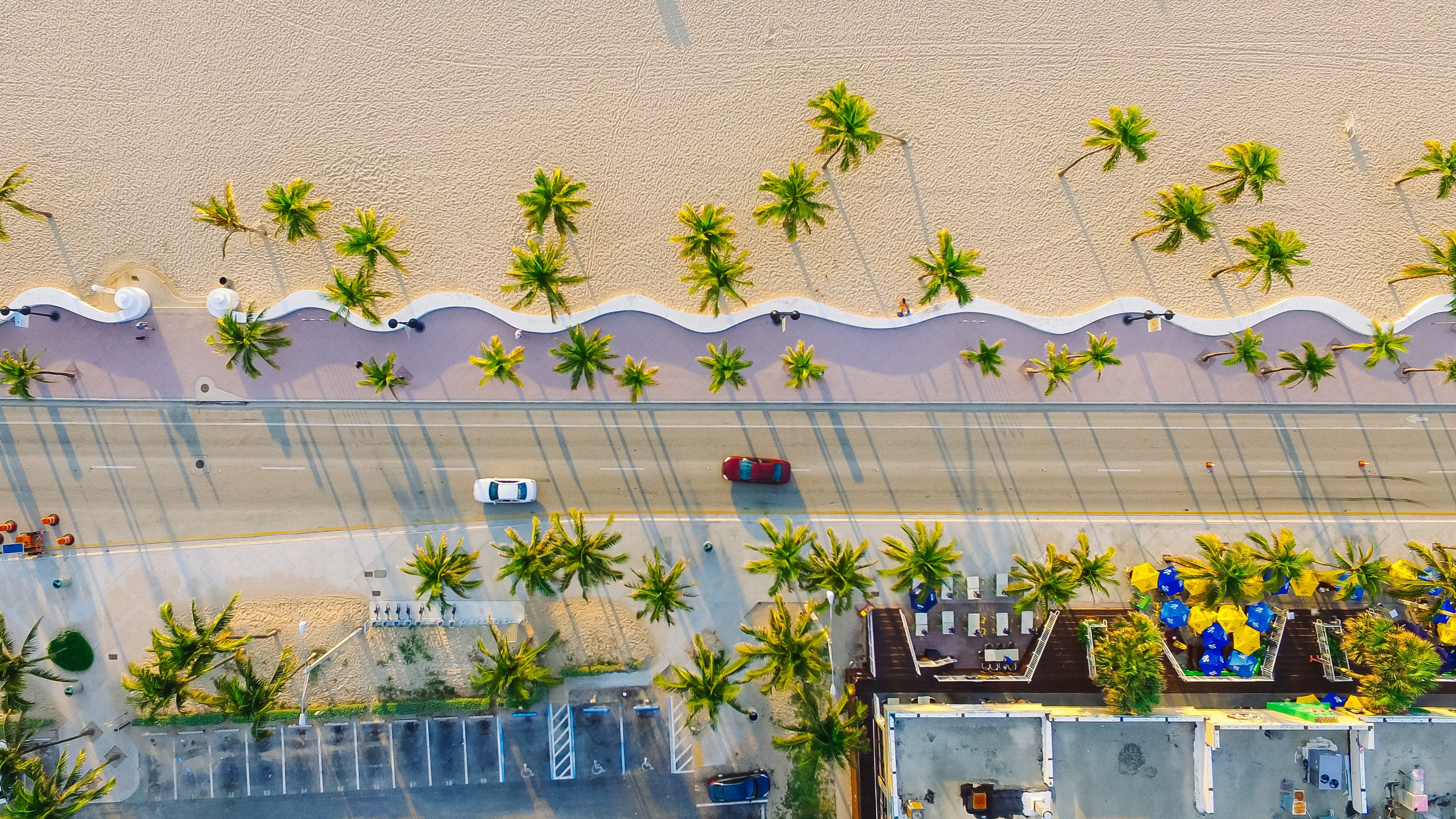 Drone view of a coastline road and buildings by the sand beach with palm trees