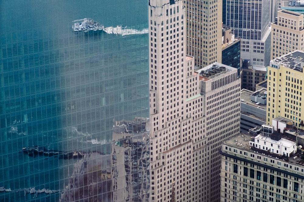 aerial photo of curtain wall building