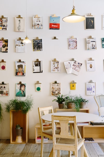 an,interior,with,magazin,cover,and,photograph,on,wall