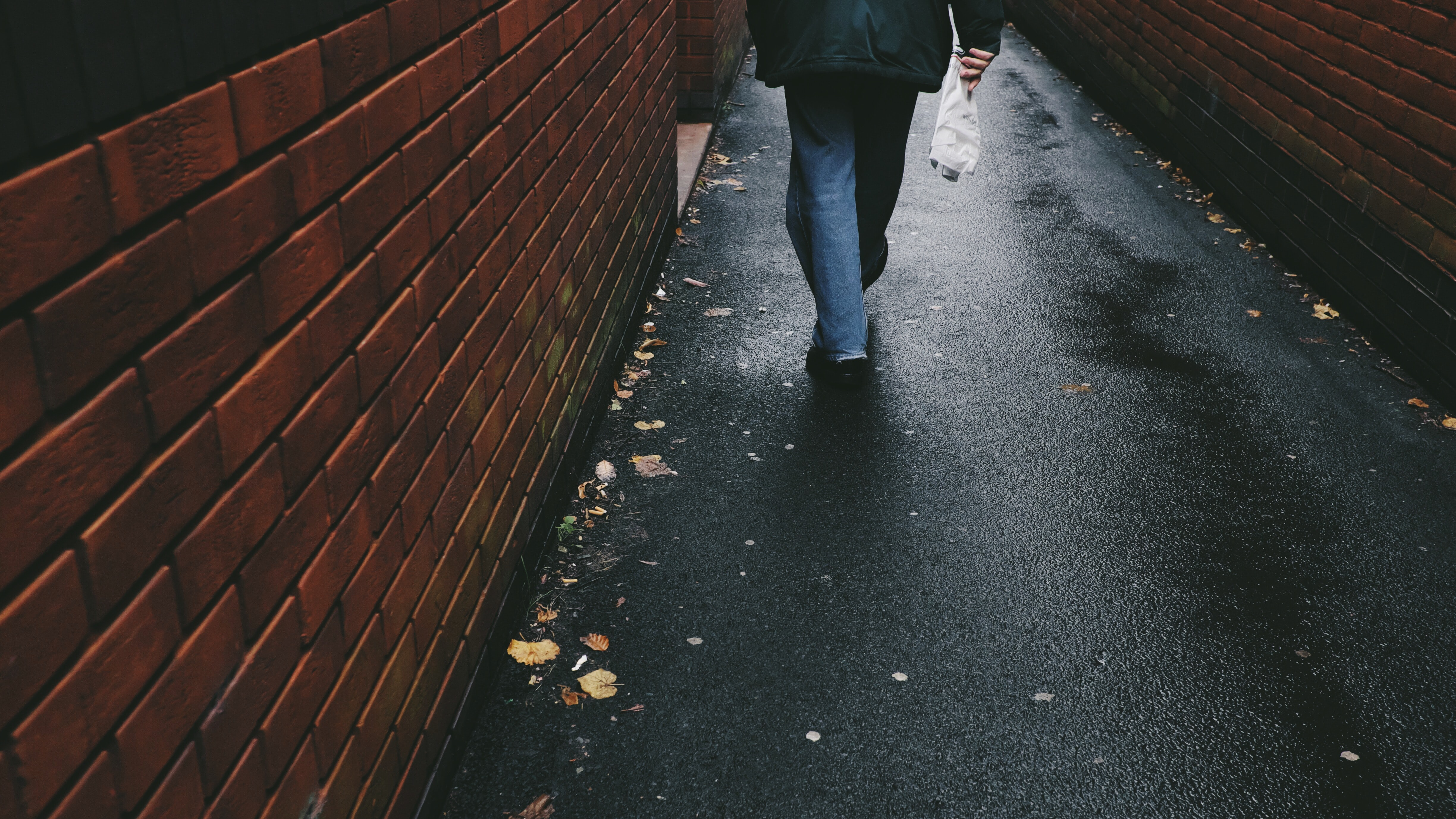 person walking on black-paved alley