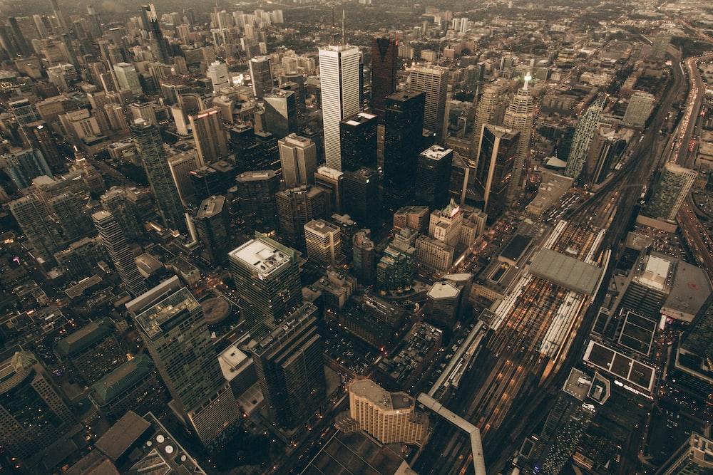 bird's-eye photography of city