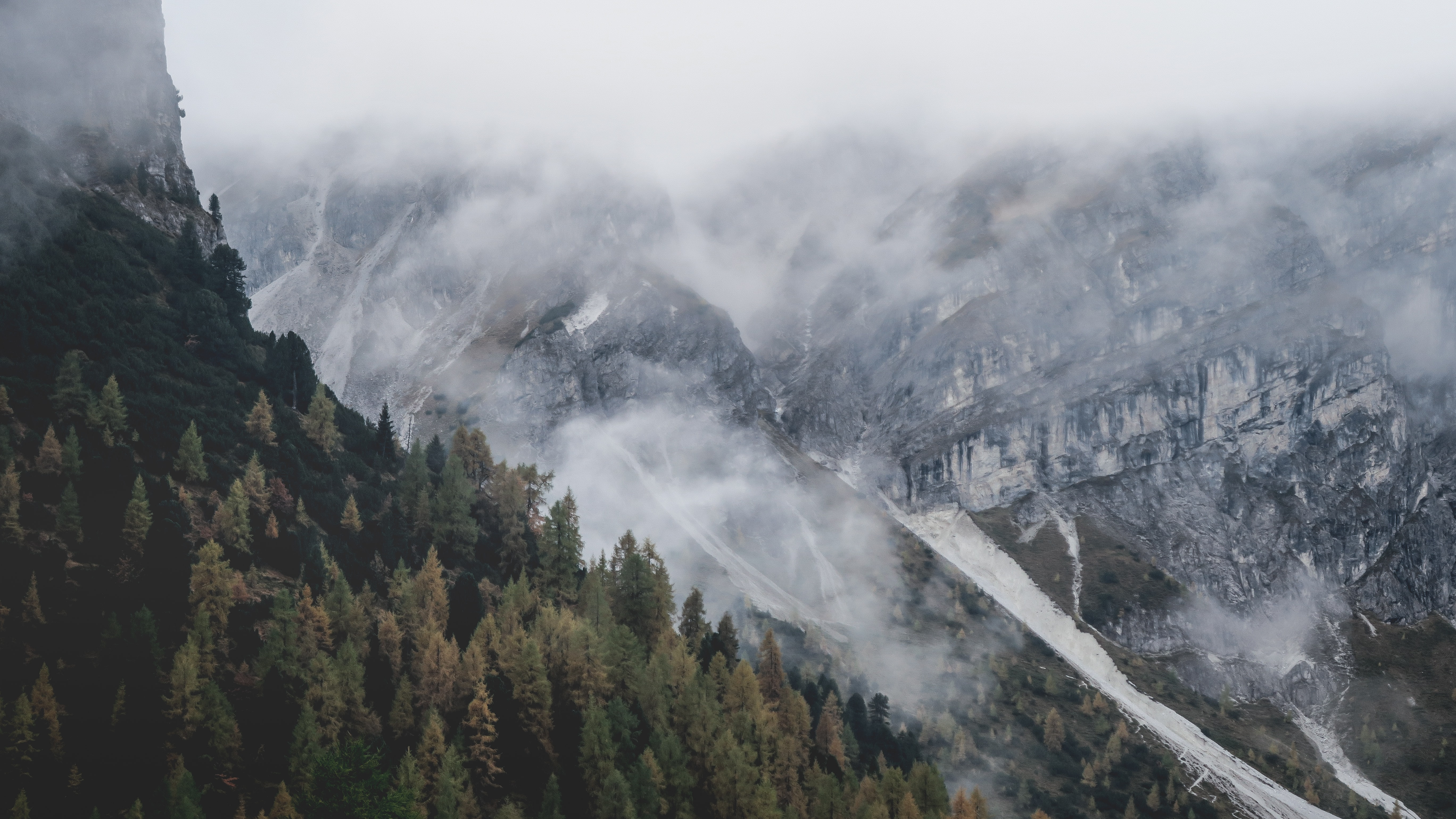 A fog descending from jagged mountain tops onto a forest in Axamer Lizum