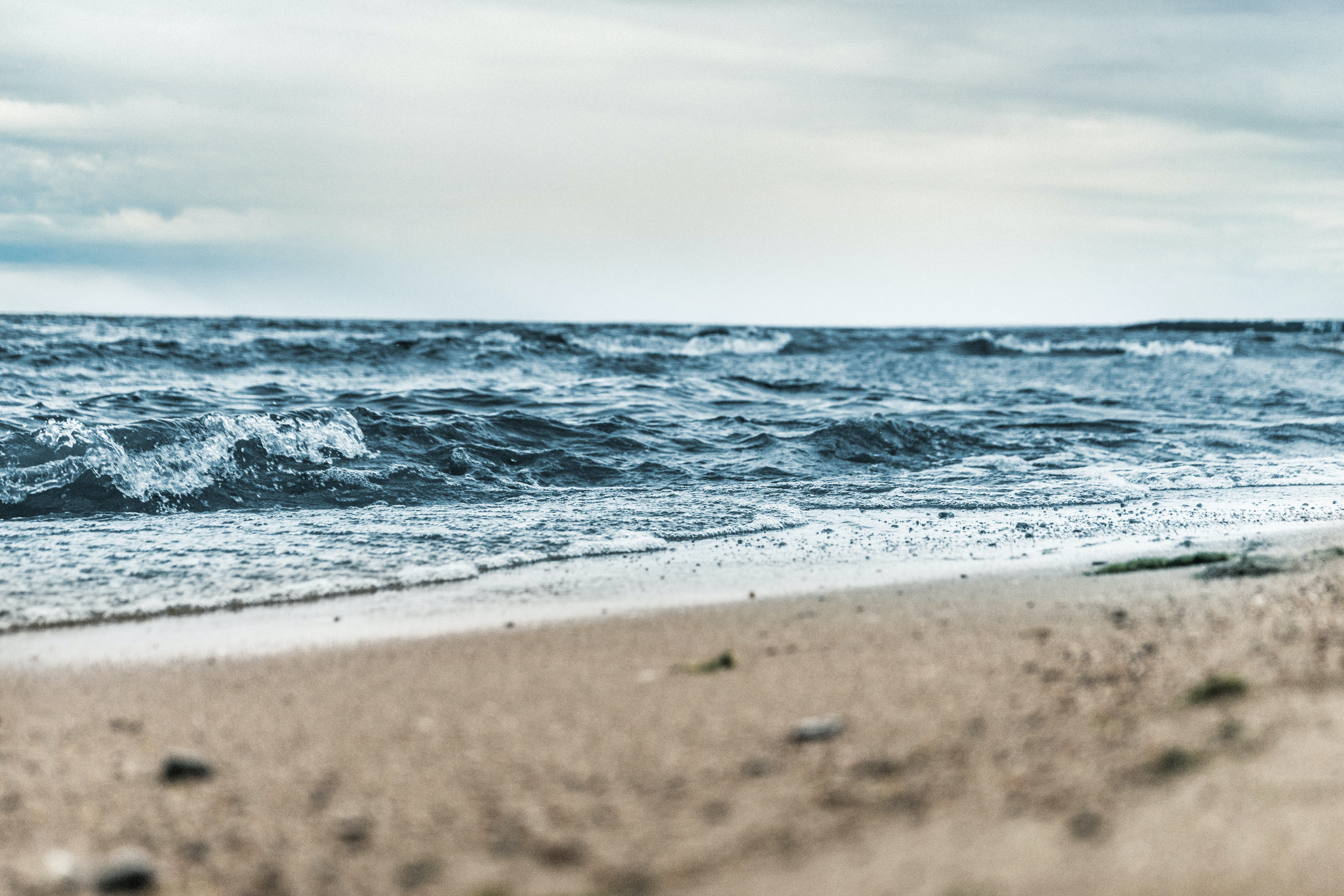 View of a rough sea from the beach in Kaliningrad