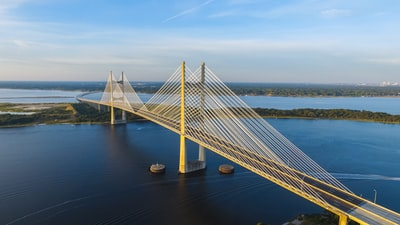 aerial photography of yellow bridge surrounded by body of water bridge teams background