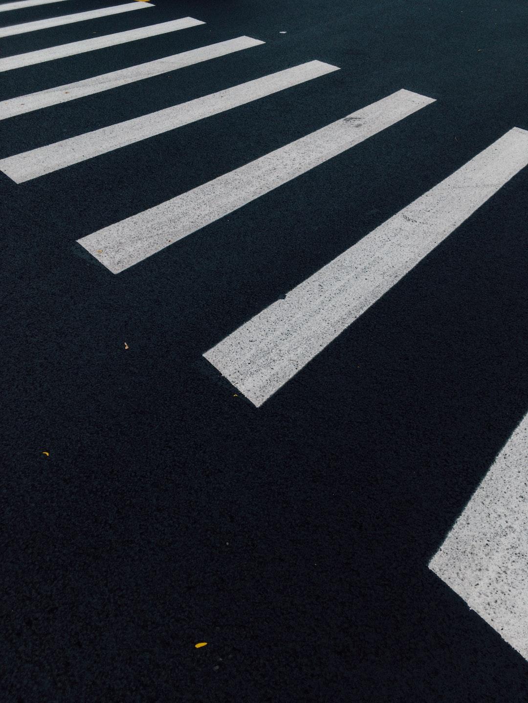 white lines on road macro