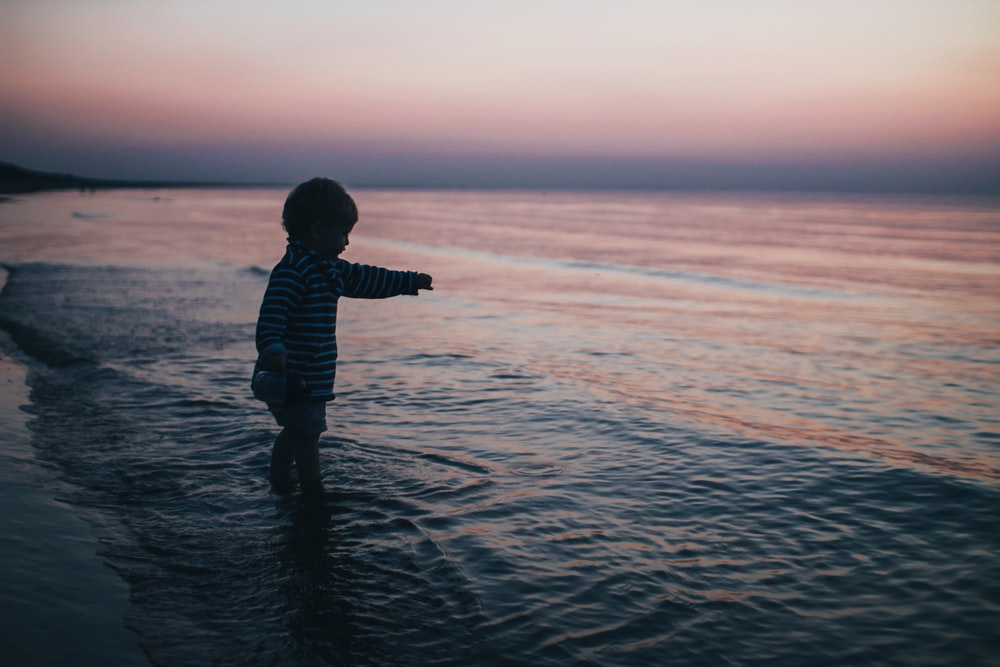 toddler on shore