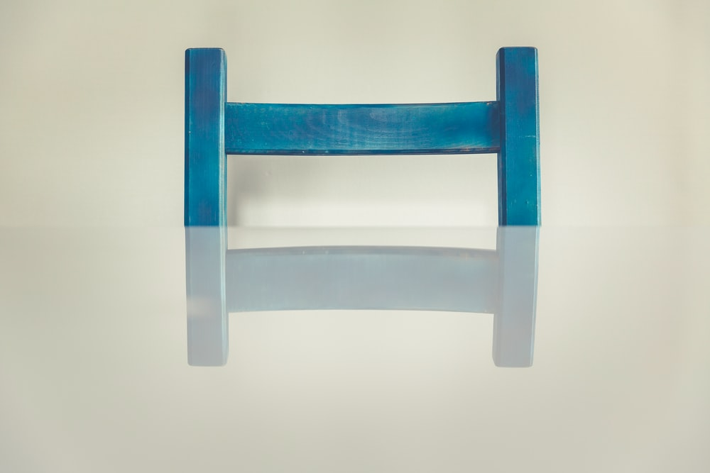 blue and white wooden frame