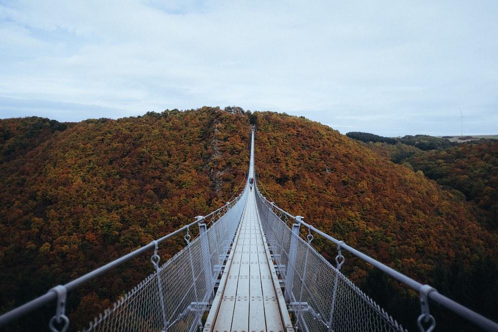 person walking on white hanging bridge during daytime