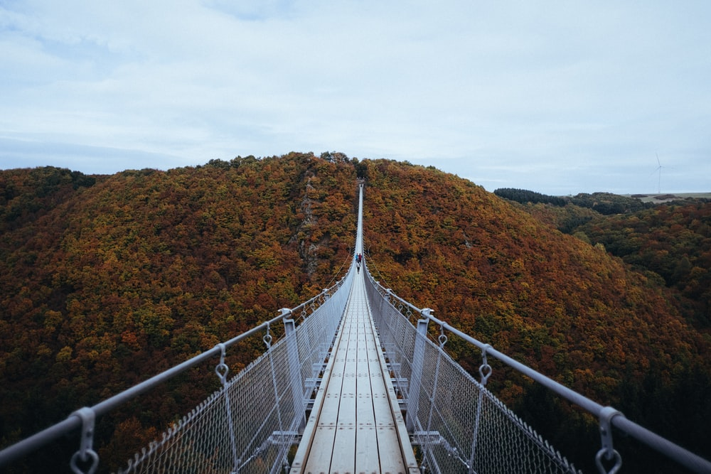 person walking on white hanging bridge during daytime