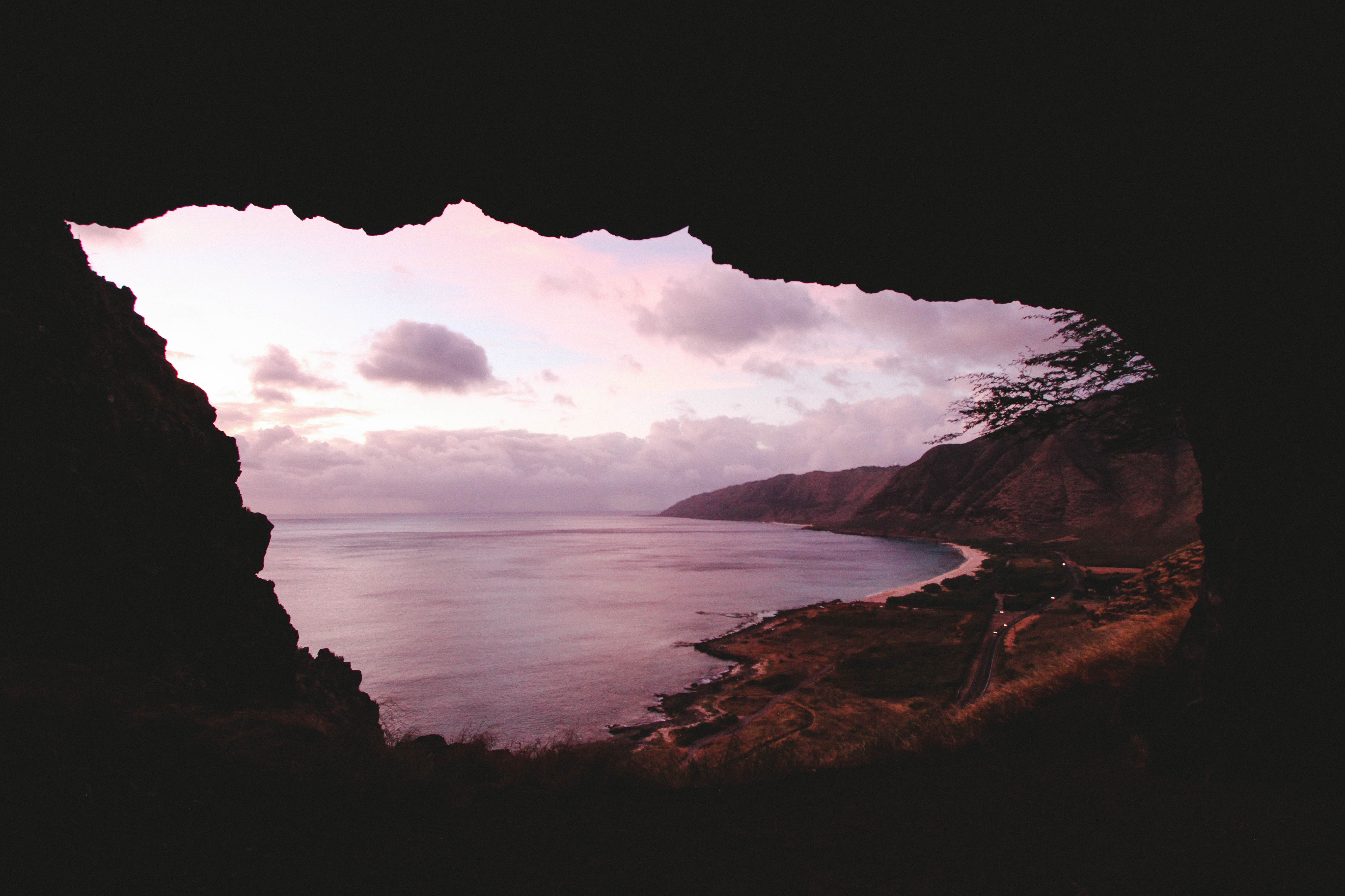 Inside a cave in Hawaii.