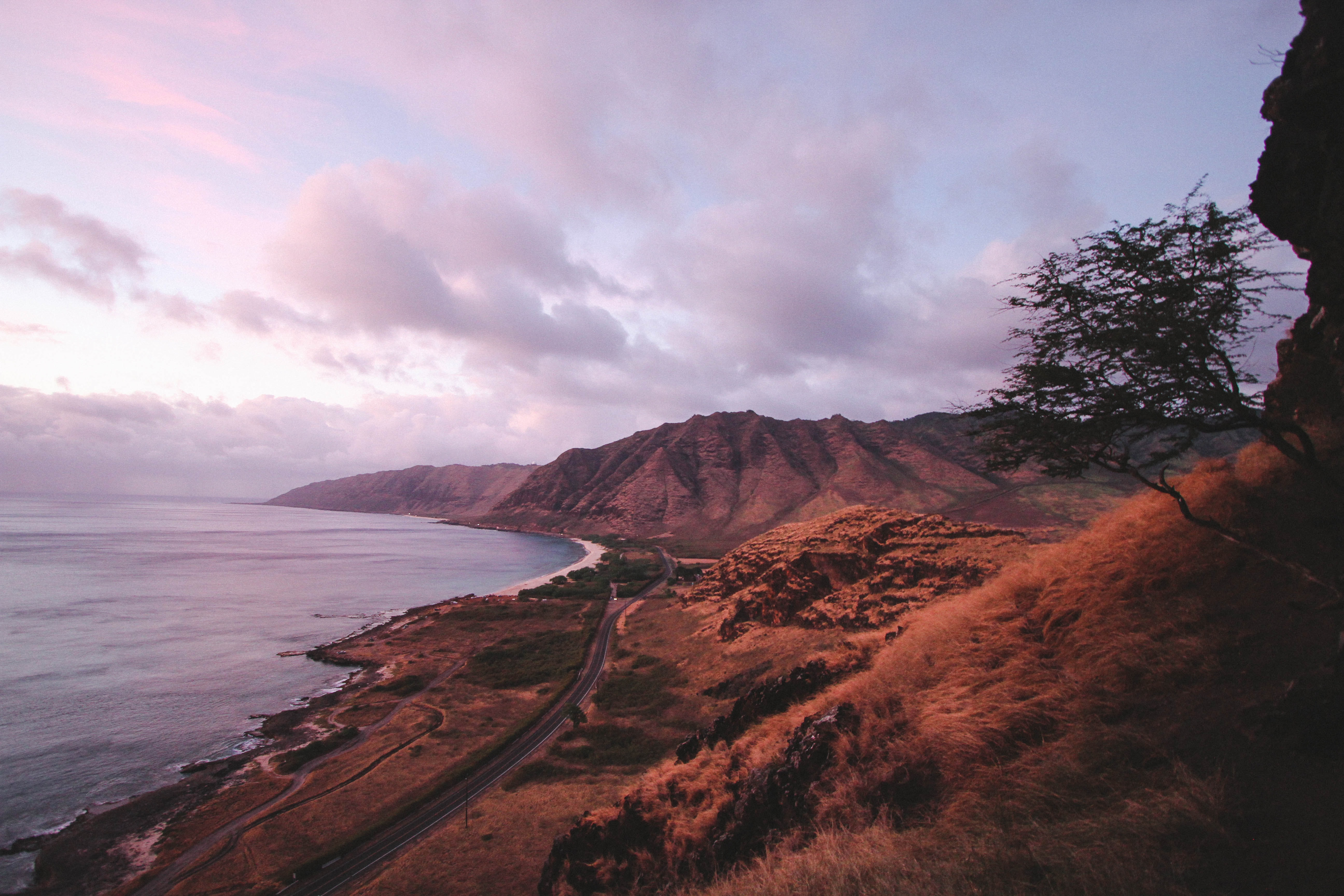 A brown, grassy mountainside along the ocean at sunset in O'ahu