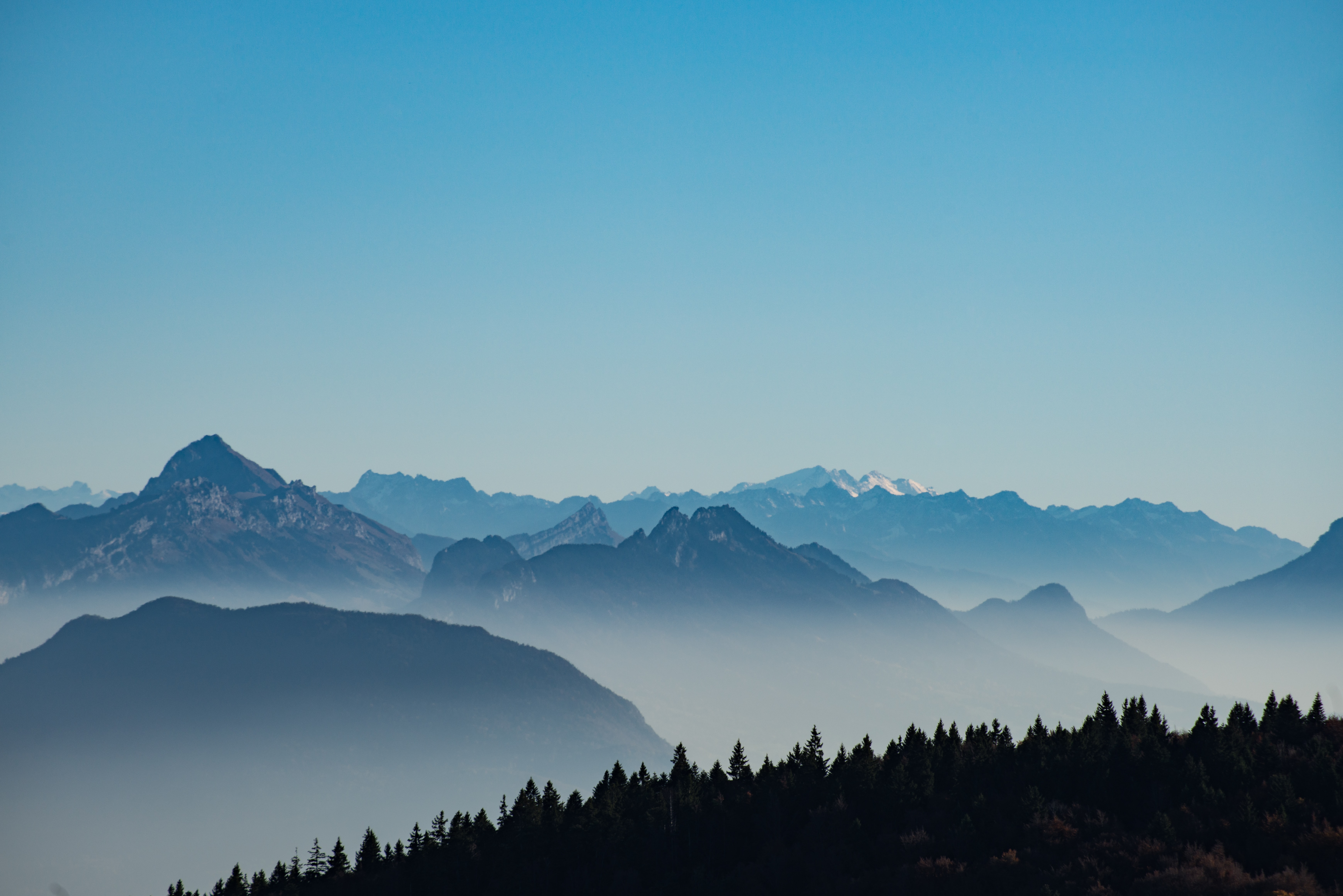 A mountain range and forest against a blue sky in Salève