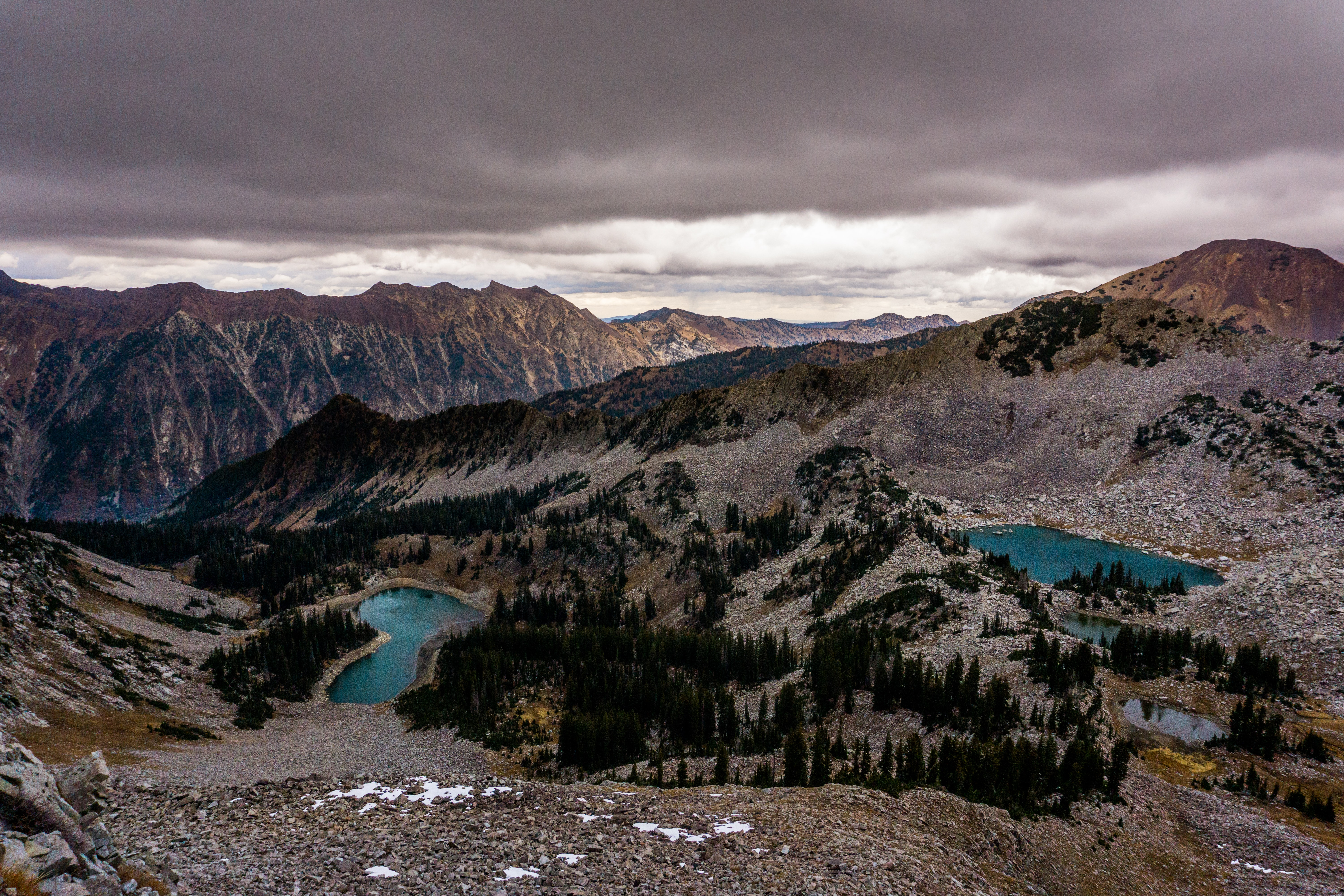 Beautiful drone mountain, lake, and forest views in little cottonwood