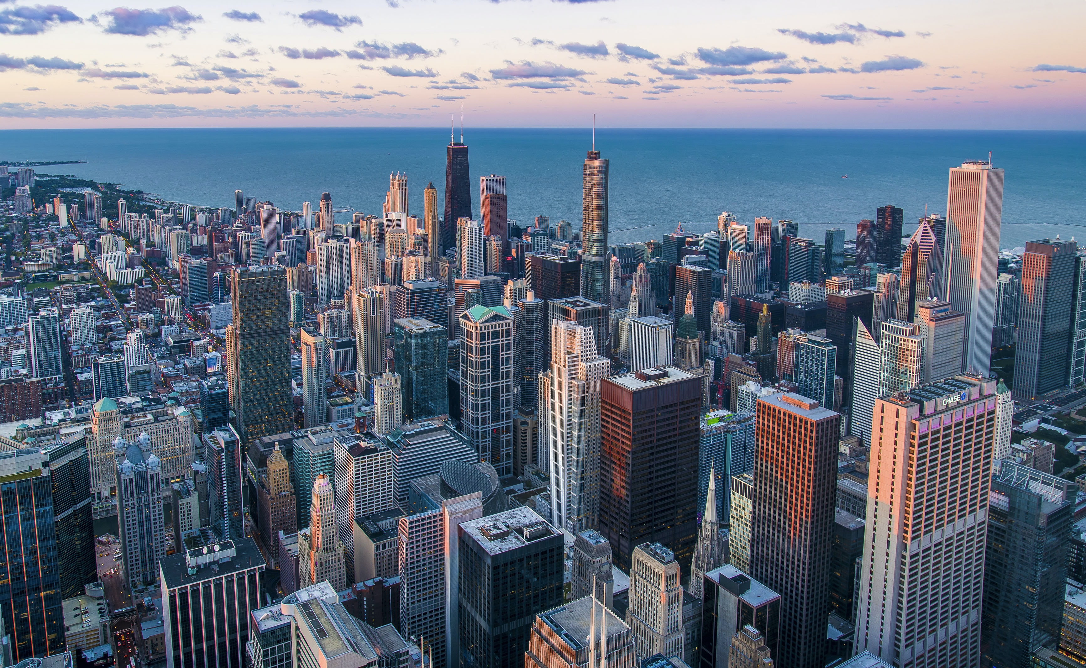 View on skyscrapers and Lake Michigan in Chicago