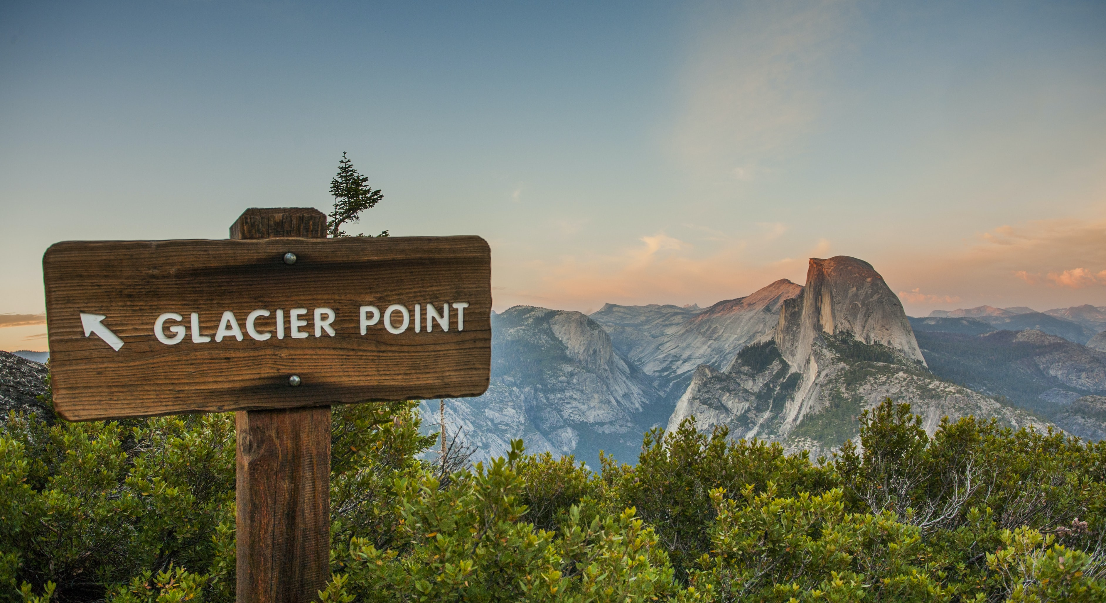 "A signboard in Yosemite Valley reads ""Glacier Point"""