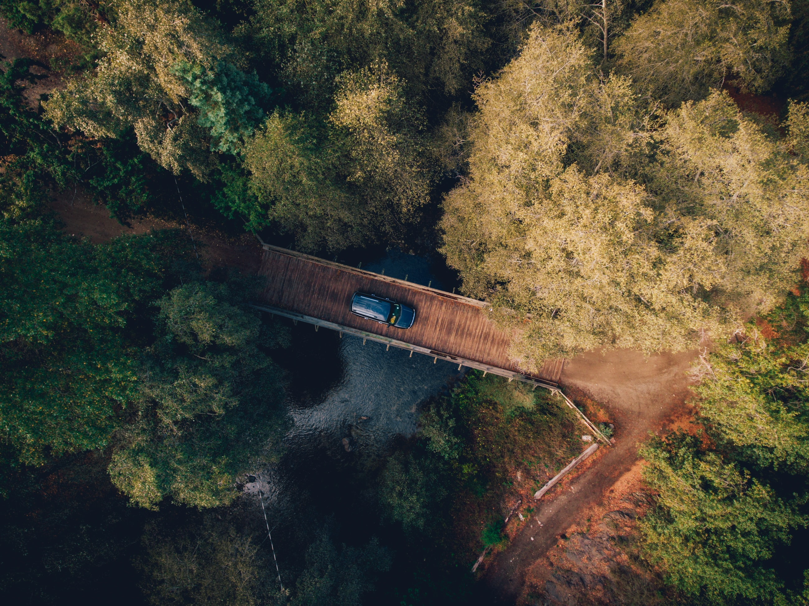 Drone aerial view of a car on a wooden bridge in the forest in Big Sur