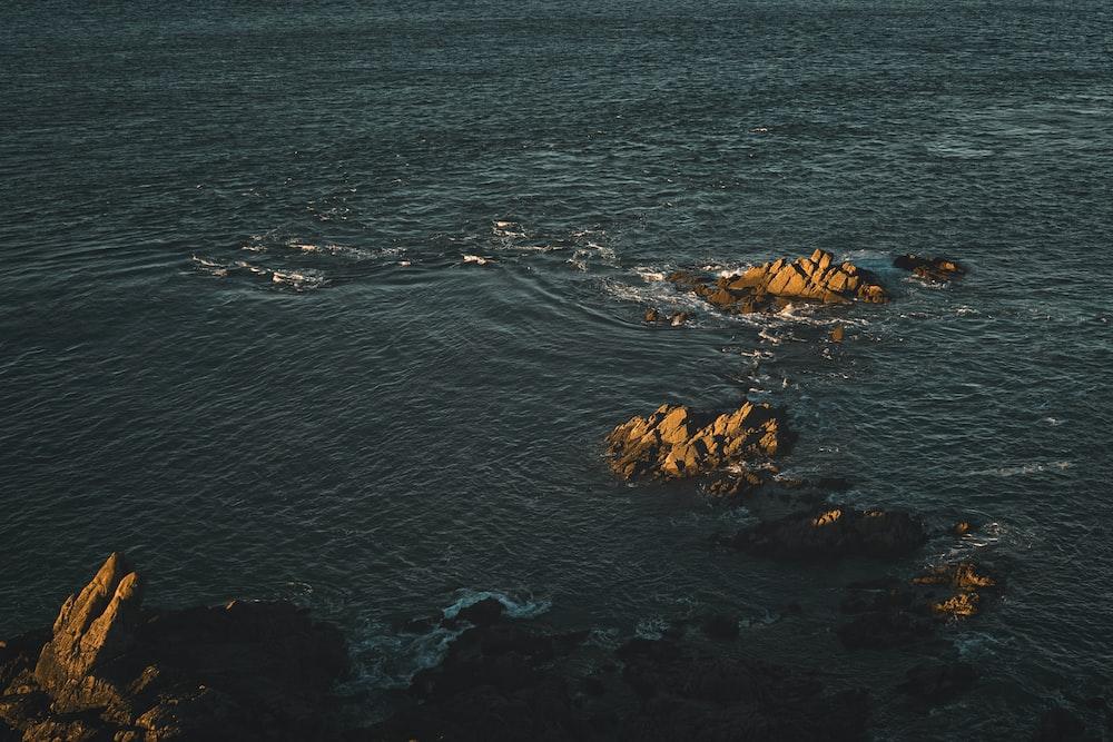 aerial photography of seashore near rock