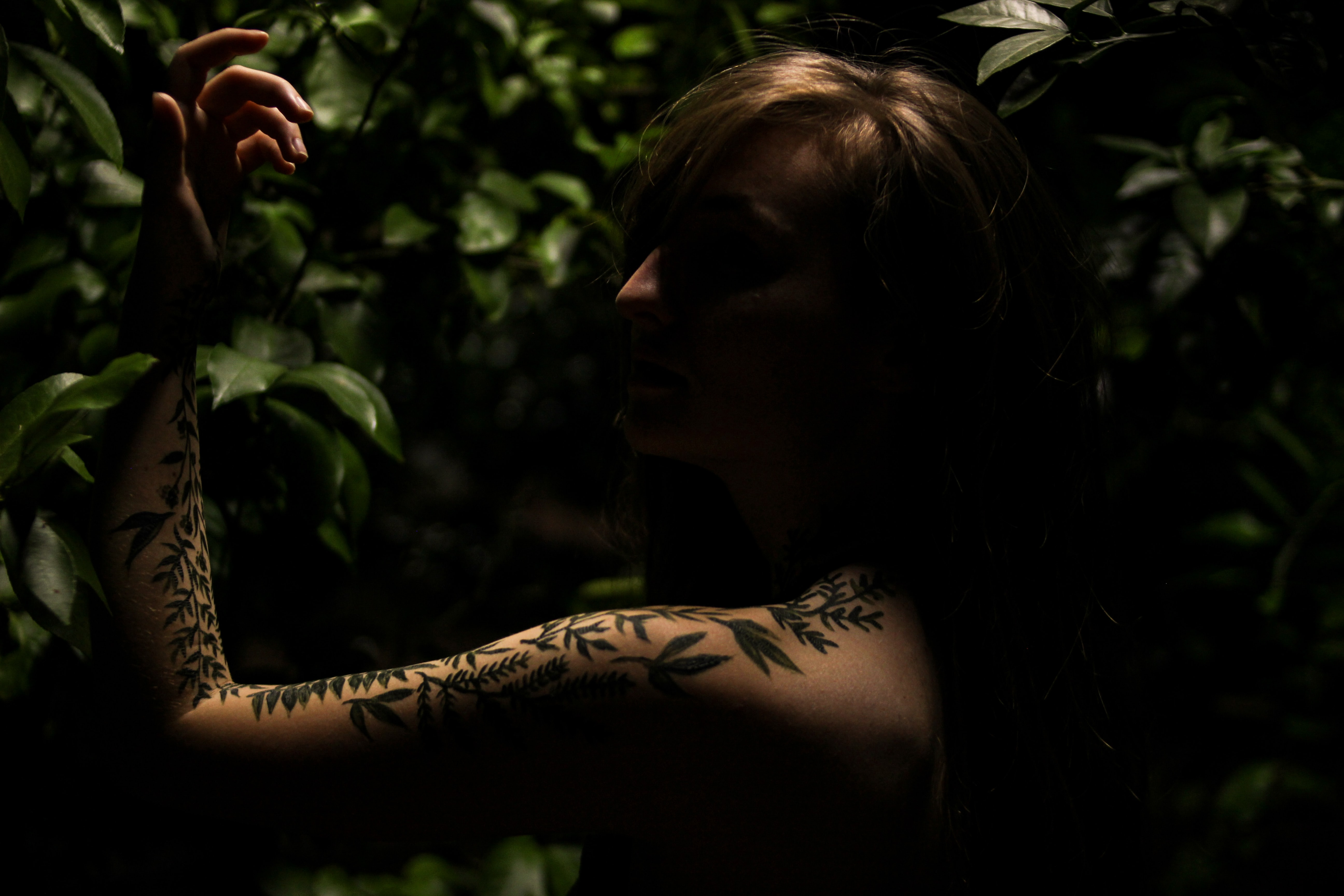 A person stands in shadows at the Birmingham Botanical Gardens, showing a leaf-print tattoo sleeve